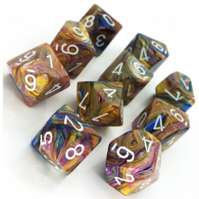 Carousel & White Festive D10 Ten Sided Dice Set